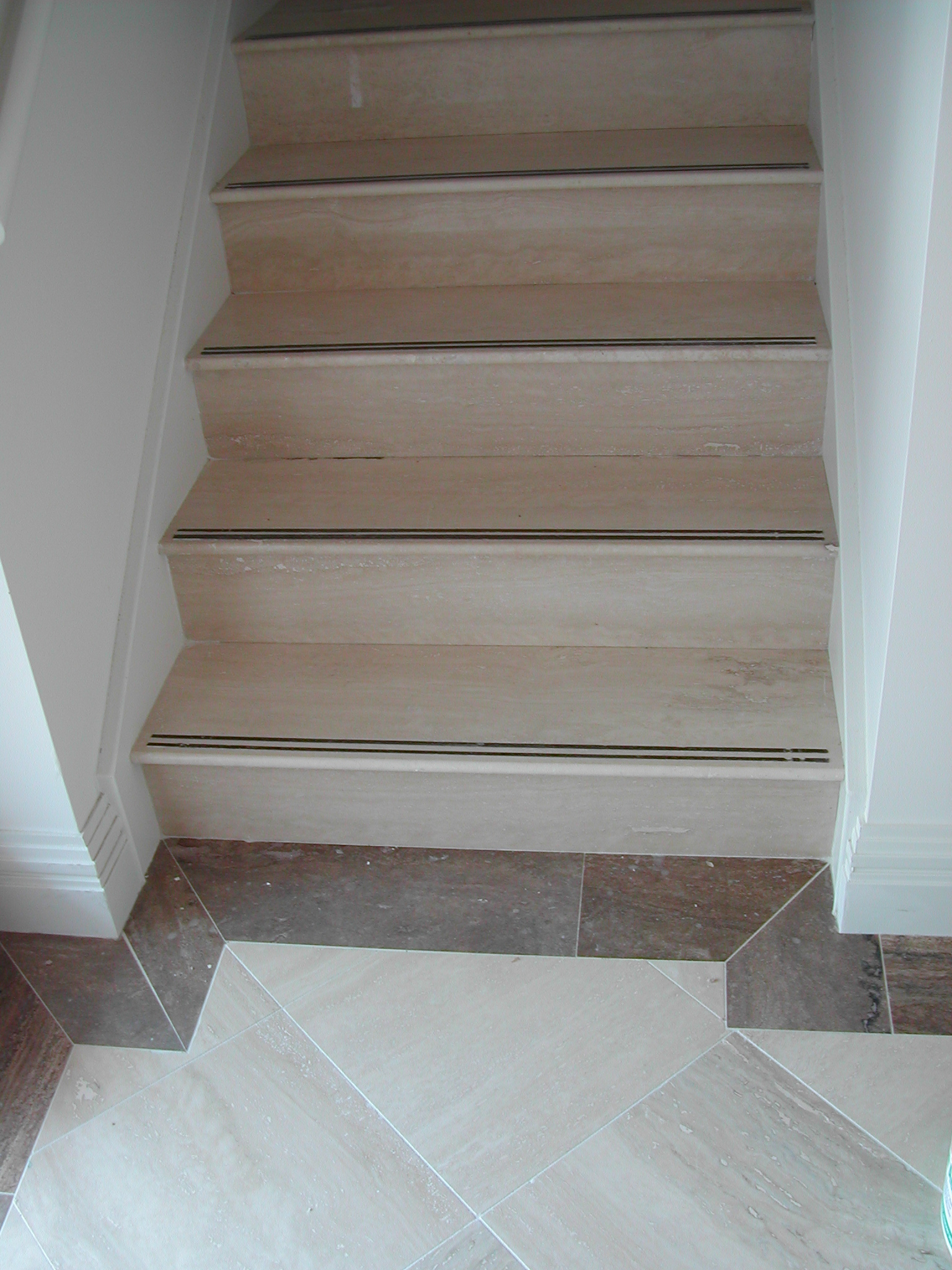 travertine hall and stairs